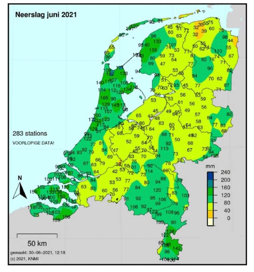 De neerslaghoeveelheden van de maand juni.