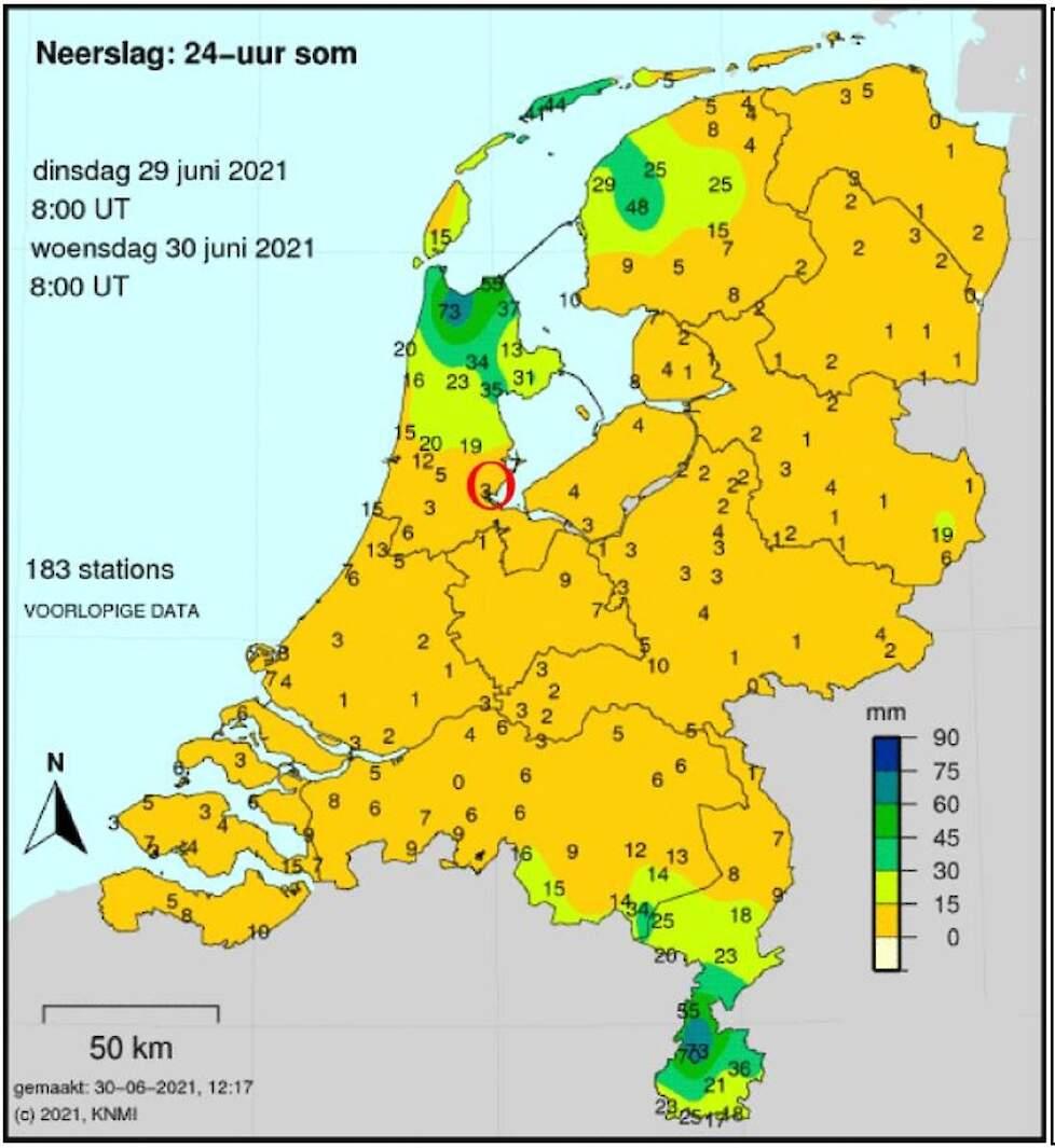 De neerslaghoeveelheden van 29 juni. Duidelijk is te zien welke gebieden extreem veel neerslag hebben gehad.